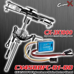 CX450DFC-01-00-CX-3X1000 - CX450DFC Flybarless Main Rotor Head with CopterX CX-3X1000 Flybarless Gyro Combo