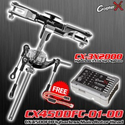 CX450DFC-01-00-CX-3X2000 - CX450DFC Flybarless Main Rotor Head with CopterX CX-3X2000 Flybarless Gyro Combo