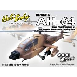 AH001 - Apache AH-64 Glass Fiber Fuselage with Air Operate Retractable Landing Gear - 600 Class (Desert Camouflage)
