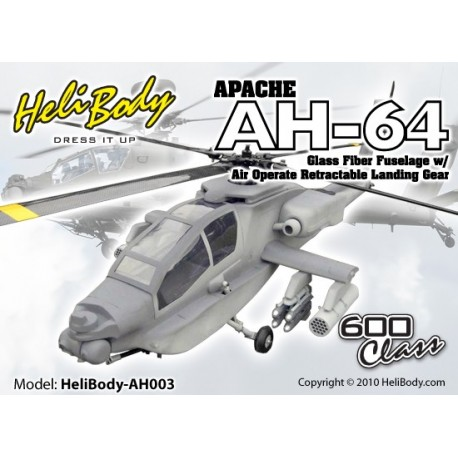 AH003 - Apache AH-64 Glass Fiber Fuselage with Air Operate Retractable Landing Gear - 600 Class (Gray Camouflage)