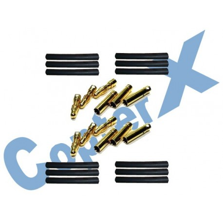CX450-08-14 - Gold Plated Connectors with Heat Shrink Tubing 6 Pairs